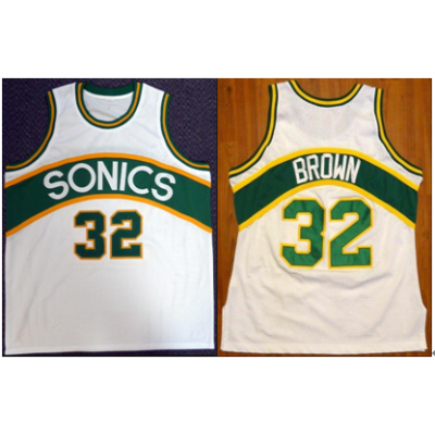 NBA Seattle Supersonics 32 Fred Brown White Men Jersey