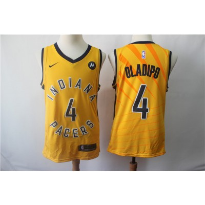 NBA Pacers 4 Victor Oladipo Yellow Nike Swingman Men Jersey