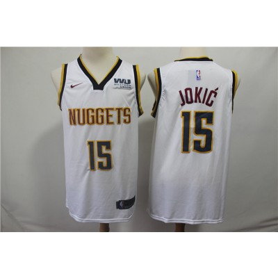 NBA Nuggets 15 Nikola Jokic White Nike Swingman Men Jersey