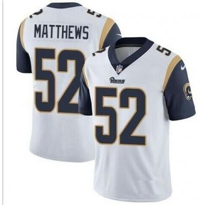 Nike Rams 52 Clay Matthews White Vapor Untouchable Limited Men Jersey