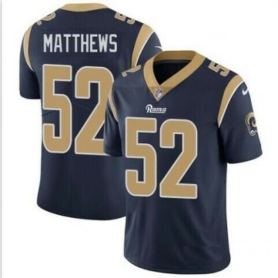 Nike Rams 52 Clay Matthews Navy Vapor Untouchable Limited Men Jersey