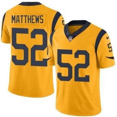 Nike Rams 52 Clay Matthews Gold Color Rush Limited Men Jersey