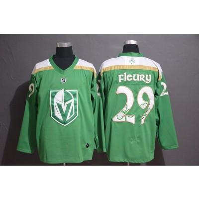 NHL Vegas Golden Knights 29 Marc-Andre Fleury Green 2019 St. Patrick's Day Adidas Men Jersey