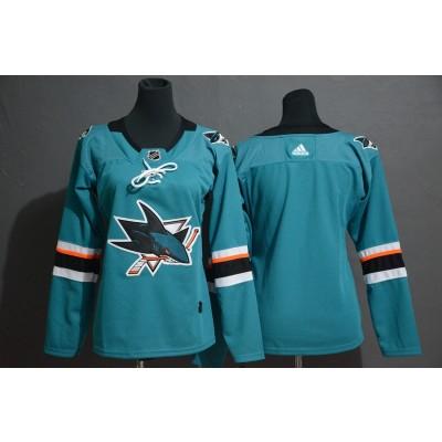 NHL Sharks Blank Teal Adidas Women Jersey