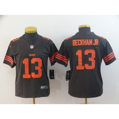 Nike Browns 13 Odell Beckham Jr Brown Color Rush Limited Women Jersey