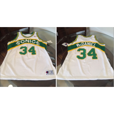 NBA Seattle Supersonics 34 Xavier McDaniel White Men Jersey