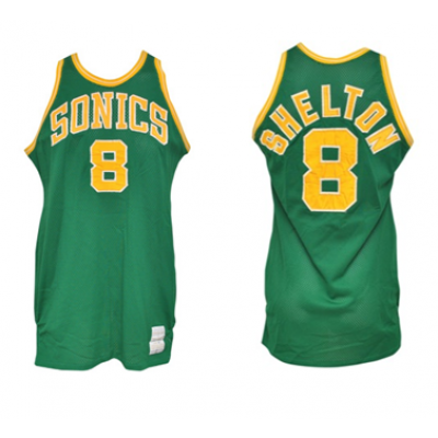 NBA Seattle Supersonics 8 Lonnie Shelton Green Men Jersey