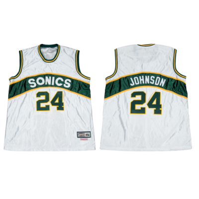 NBA Seattle Supersonics 24 Dennis Johnson White Men Jersey