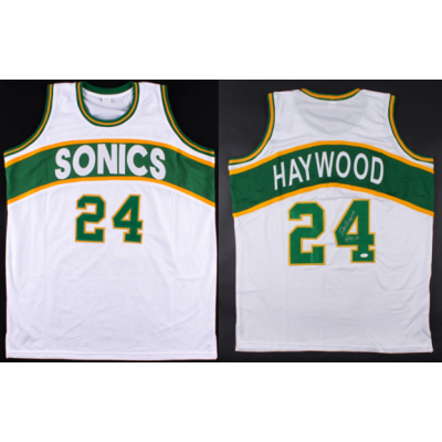 NBA Seattle Supersonics 24 Spencer Haywood White Men Jersey