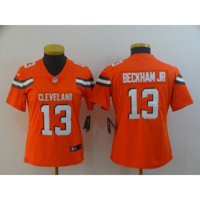 Nike Browns 13 Odell Beckham Jr Orange Vapor Untouchable Limited Women Jersey