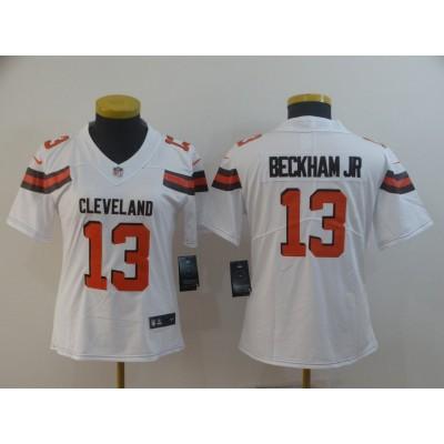Nike Browns 13 Odell Beckham Jr White Vapor Untouchable Limited Women Jersey