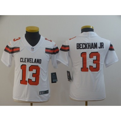 Nike Browns 13 Odell Beckham Jr White Vapor Untouchable Limited Youth Jersey