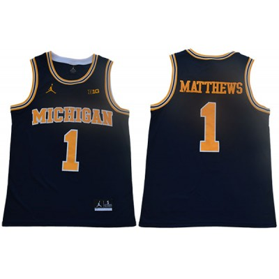 NCAA Michigan Wolverines 1 Charles Matthews Navy College Basketball Men Jersey