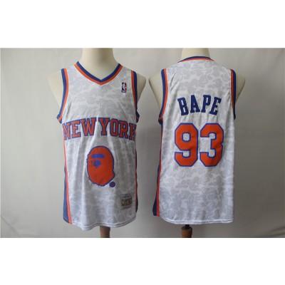 NBA Knicks 93 Bape White Hardwood Classics Men Jersey