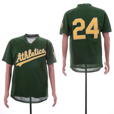 MLB Athletics 24 Rickey Henderson Green BP Mesh Jersey