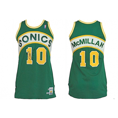 NBA SuperSonics 10 Nate McMillan Green Men Jersey