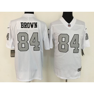 Nike Raiders 84 Antonio Brown White With Sliver Number Vapor Untouchable Limited Men Jersey