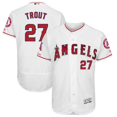 MLB Angels 27 Mike Trout White 150th Patch Flexbase Men Jersey