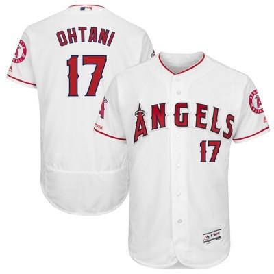 MLB Angels 17 Shohei Ohtani White 150th Patch Flexbase Men Jersey