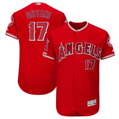 MLB Angels 17 Shohei Ohtani Scarlet 150th Patch Flexbase Men Jersey