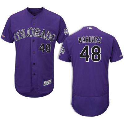 MLB Rockies 48 German Marquez Purple Flex Base Men Jersey
