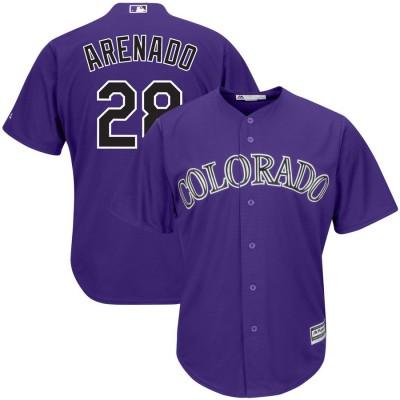 MLB Rockies 28 Nolan Arenado Purple Cool Base Men Jersey