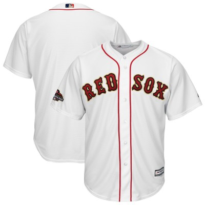 MLB Red Sox Blank White 2019 Gold Program Cool Base Men Jersey