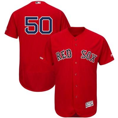 MLB Red Sox 50 Mookie Betts Scarlet 150th Patch FlexBase Men Jersey