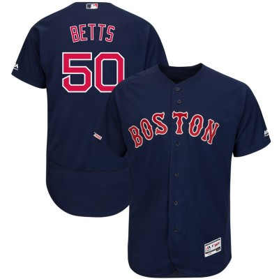 MLB Red Sox 50 Mookie Betts Navy 150th Patch FlexBase Men Jersey
