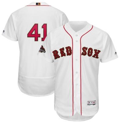 MLB Red Sox 41 Chris Sale White 2019 Gold Program FlexBase Men Jersey