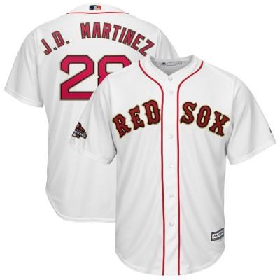 MLB Red Sox 28 J.D. Martinez White 2019 Gold Program Cool Base Youth Jersey