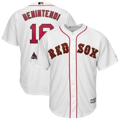 MLB Red Sox 16 Andrew Benintendi White 2019 Gold Program Cool Base Men Jersey