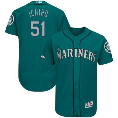 MLB Mariners 51 Ichiro Suzuki Aqua 150th Patch Flexbase Men Jersey