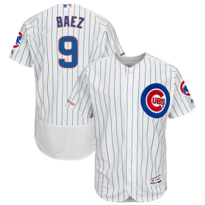MLB Cubs 9 Javier Baez White 150th Patch Flexbase Men Jersey