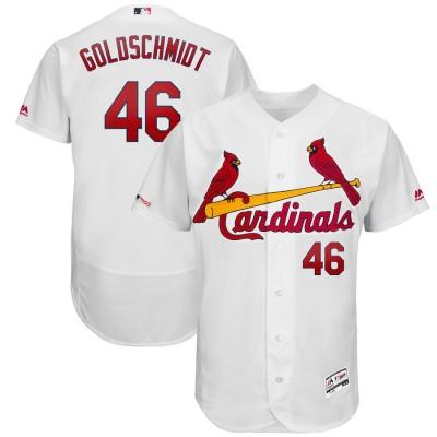 MLB Cardinals 46 Paul Goldschmidt White 150th Patch Flexbase Men Jersey