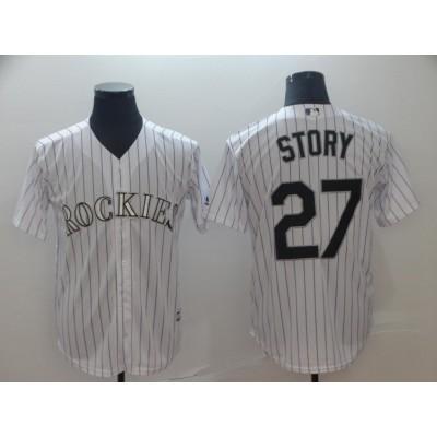 MLB Rockies 27 Trevor Story White Cool Base Men Jersey