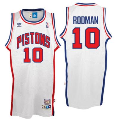 NBA Pistons 10 Dennis Rodman White Hardwood Classic Throwback Jersey