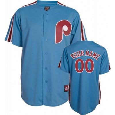 MLB Phillies Light Blue Cooperstown Customized Men Jersey