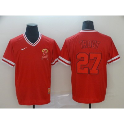 MLB Angels 27 Mike Trout Red Nike Cooperstown Collection Legend V-Neck Men Jersey