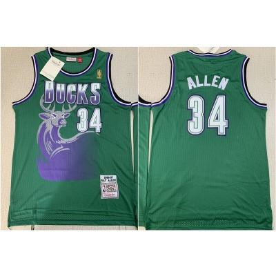 NBA Bucks 34 Ray Allen Green 1996-97 Hardwood Classics Mesh Men Jersey