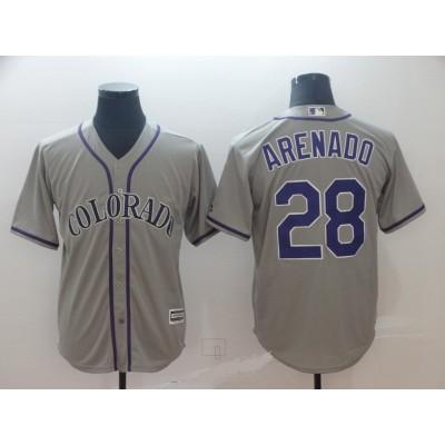 MLB Rockies 28 Nolan Arenado Grey New Cool Base Men Jersey
