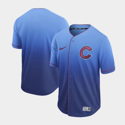 MLB Cubs Blank Blue Drift Fashion Men Jersey