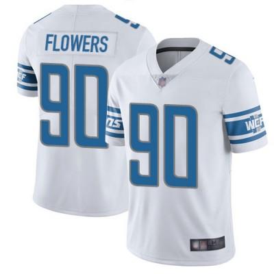 NFL Lions 90 Trey Flowers White Vapor Untouchable Limited Men Jersey
