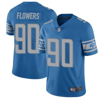 NFL Lions 90 Trey Flowers Blue Vapor Untouchable Limited Men Jersey