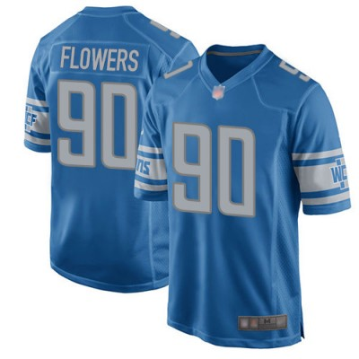 NFL Lions 90 Trey Flowers Blue Game Men Jersey