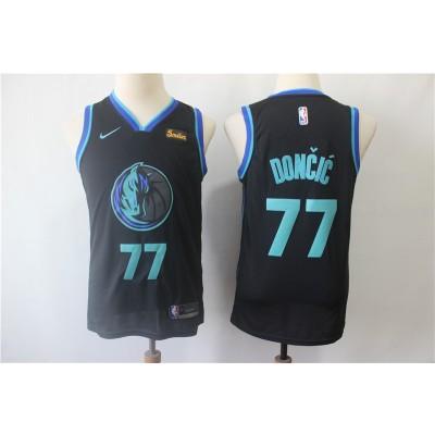 NBA Mavericks 77 Luka Doncic Black City Edition Swingman Nike Youth Jersey