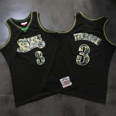 NBA 76ers 3 Allen Iverson Black Camo Hardwood Classics Swingman Men Jersey