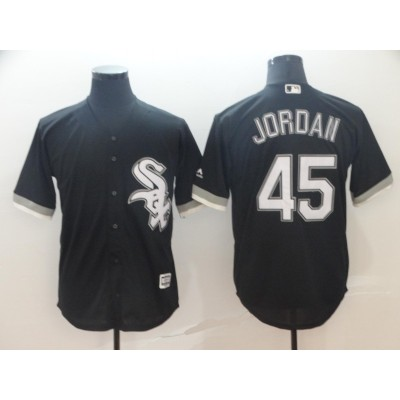 MLB White Sox 45 Michael Jordan Black Cool Base Men Jersey