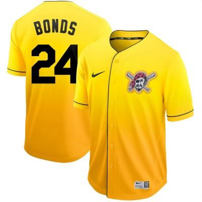 MLB Pirates 24 Barry Bonds Yellow Drift Fashion Men Jersey