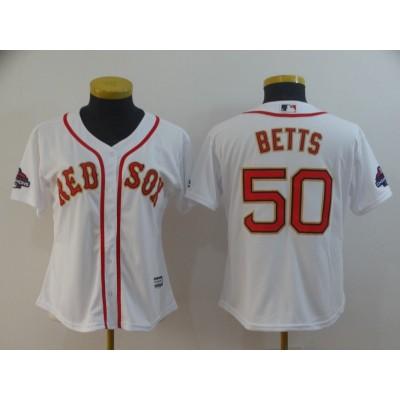 MLB Red Sox 50 Mookie Betts White 2019 Gold Program Cool Base Women Jersey